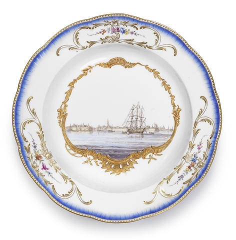 A Meissen soup plate from the service for Stadholder Willem V