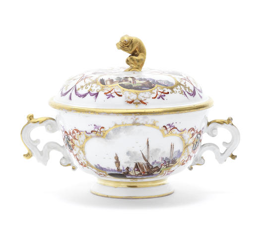 A Meissen two-handled ecuelle and cover