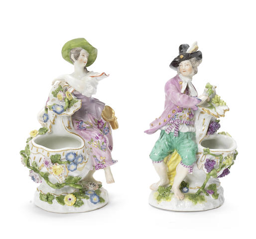 A pair of Meissen figures emblematic of Spring and Autumn