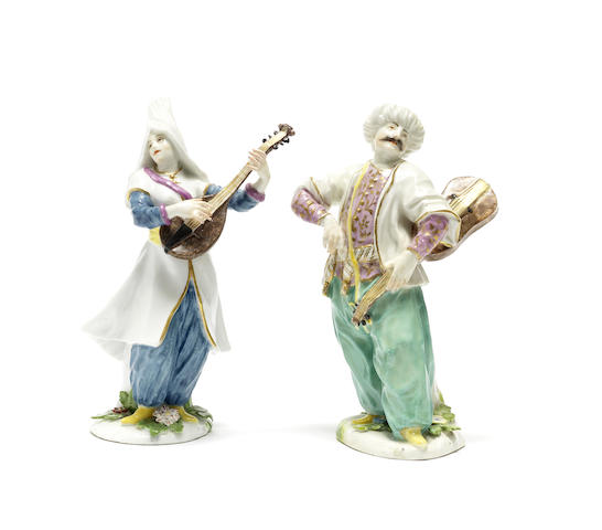 A pair of Meissen figures of Turkish musicians