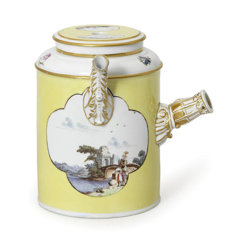 A Meissen yellow-ground chocolate pot and cover