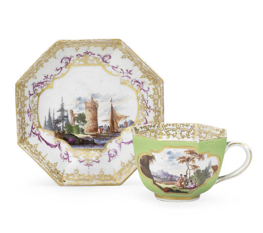 A Meissen octagonal green-ground cup and saucer