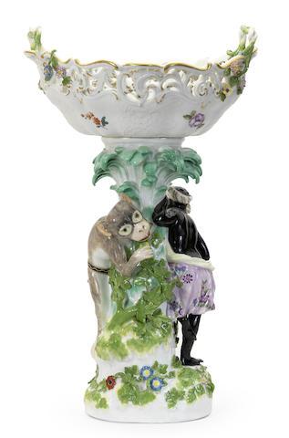 A Meissen figural basket table centrepiece