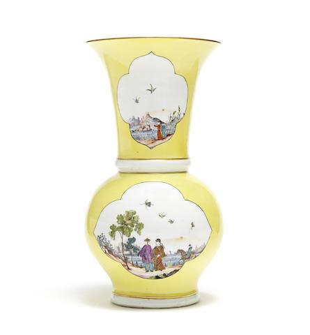 A Meissen yellow-ground Augustus Rex vase