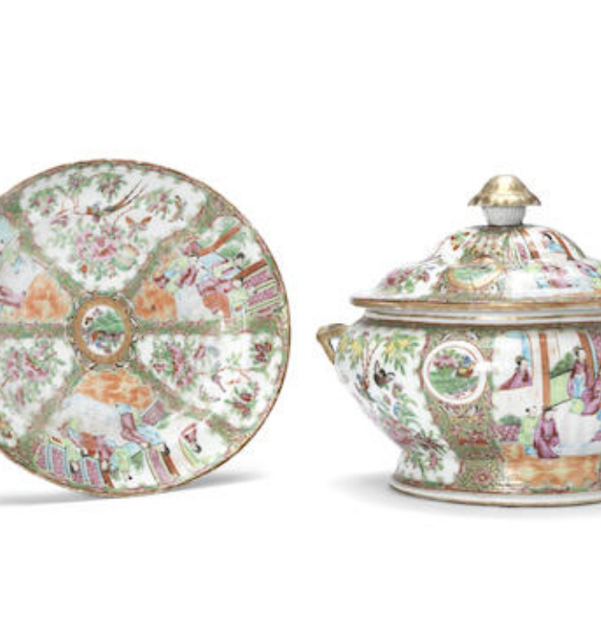 A Chinese 'Canton' famille rose tureen, cover and stand