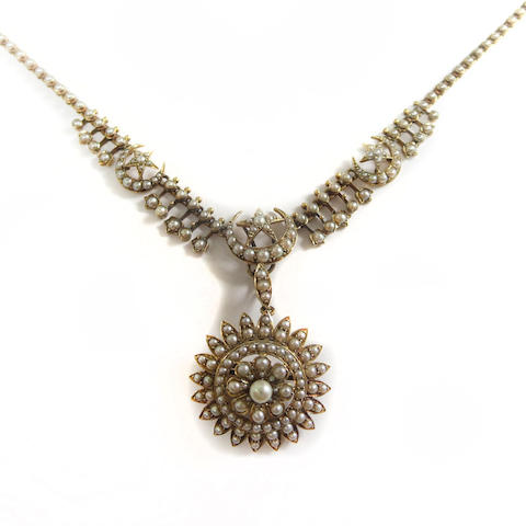 An Edwardian seed pearl necklace