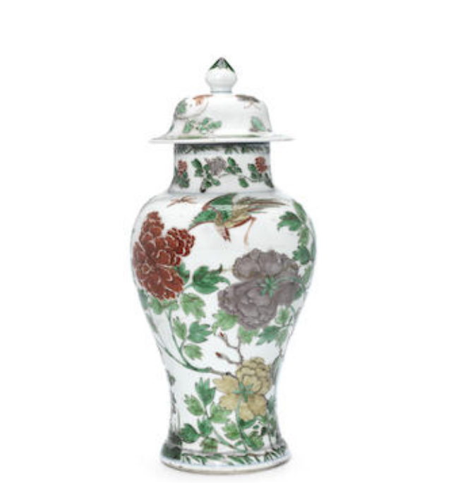 A Chinese famille verte baluster vase and associated cover