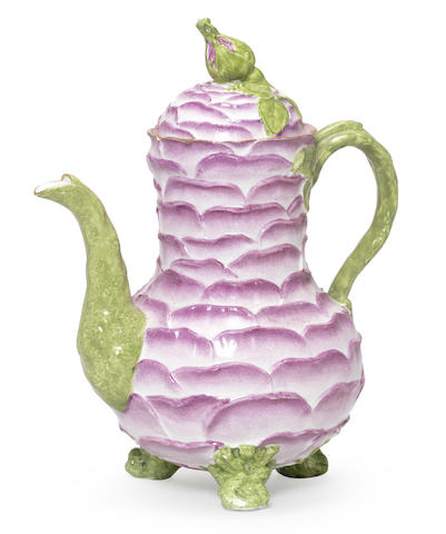 A Meissen rose-petal-moulded coffee pot and cover