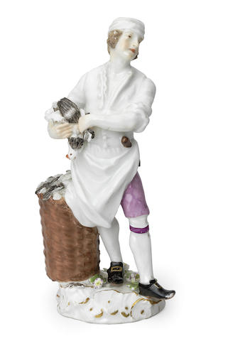 A Meissen 'Cris de Paris' figure of a poultry chef