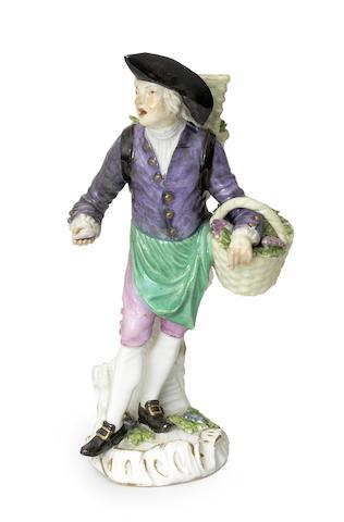 A Meissen 'Cris de Paris' figure of an oyster seller
