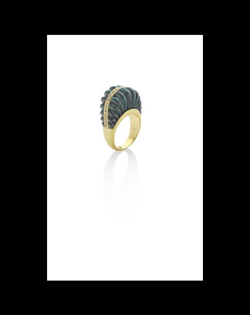 A malachite and diamond dress ring