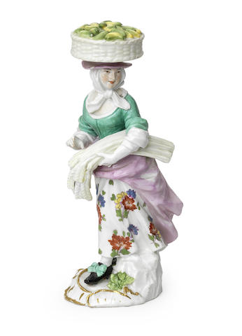 A Meissen 'Cryes of London' figure of a female vegetable seller