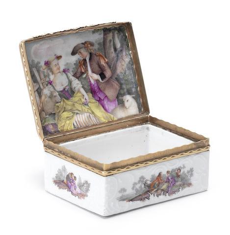 A Meissen gilt-metal-mounted rectangular snuffbox