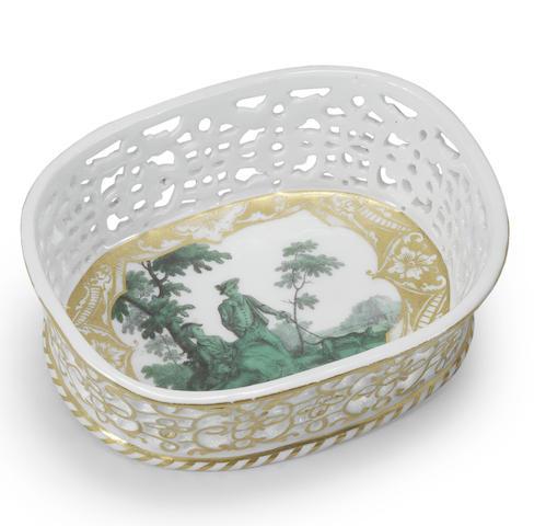 A Meissen oval basket
