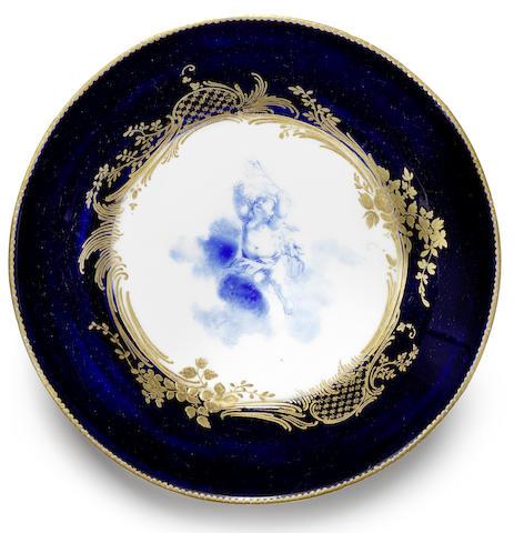 A large Vincennes bleu-lapis saucer