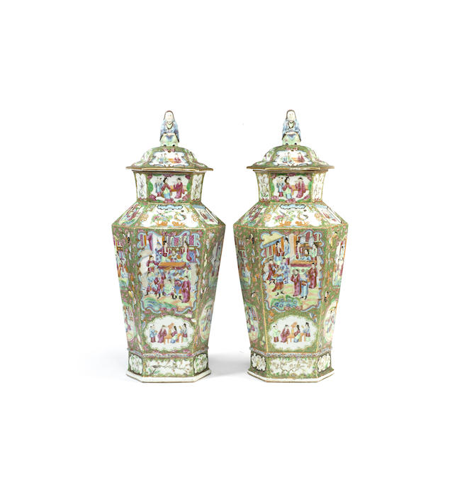 A pair of 'Canton' famille rose hexagonal vases and covers