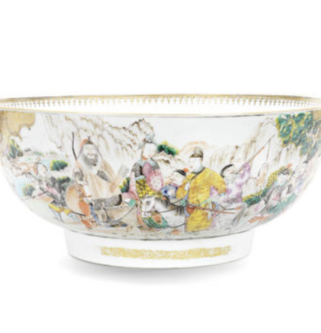 A large Chinese export famille rose punchbowl