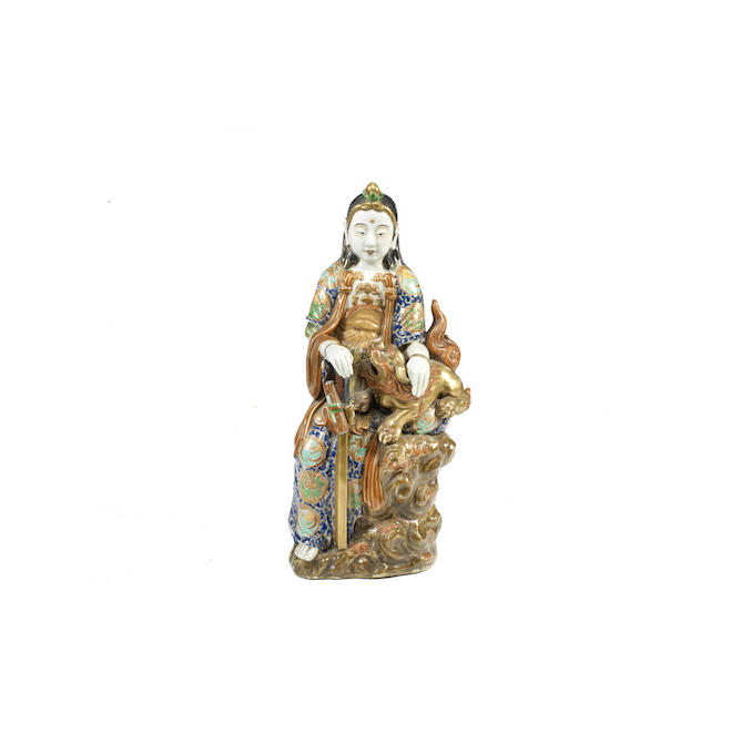 A Japanese Kutani figure of Vijraputra