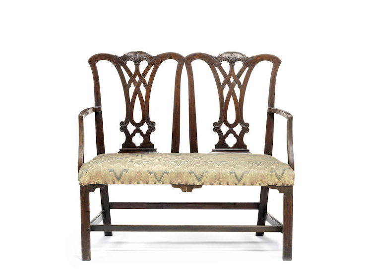 A mahogany double chair back settee