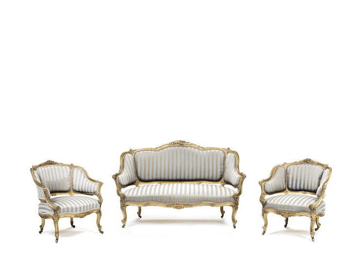 A French late 19th century carved giltwood salon suite