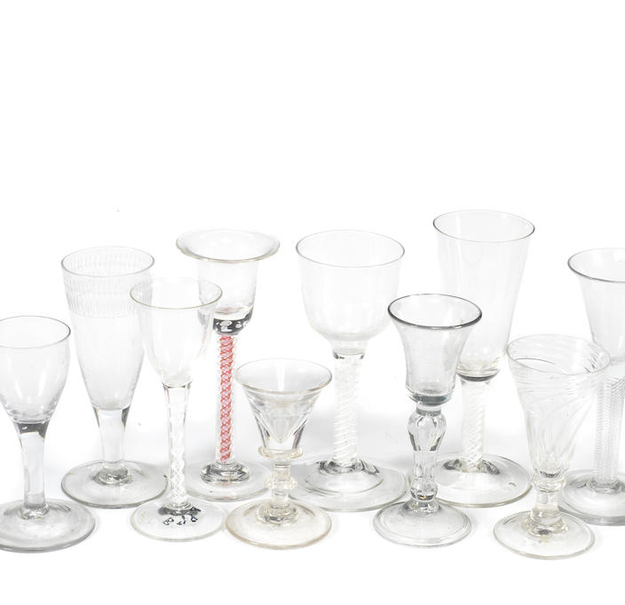 A collection of drinking glasses, 18th and 19th centuries