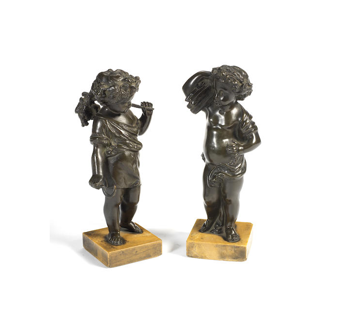 A pair of French 19th century bronze models of children