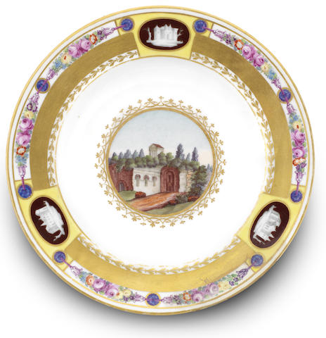 A soup plate from the Dowry service of Grand Duchess Ekaterina Pavlovna, Imperial Porcelain Factory, period of Nicholas I