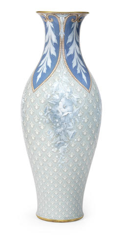 A large Sèvres pâte-sur-pâte vase, probably made for the Exposition Universelle of 1867