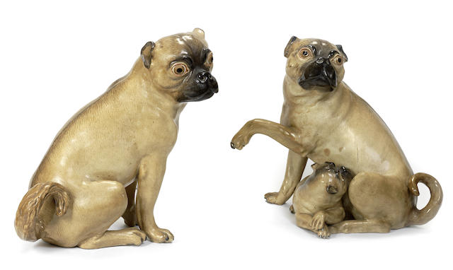 A pair of Meissen pug dogs