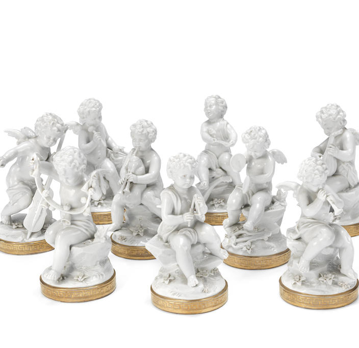A set of nine Naples-style figures of Cupid musicians