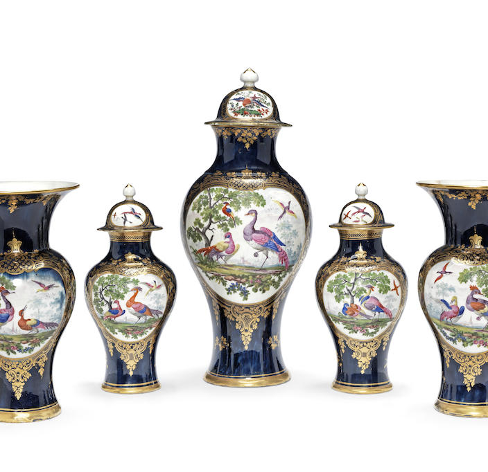 A rare Worcester garniture of five vases and three covers