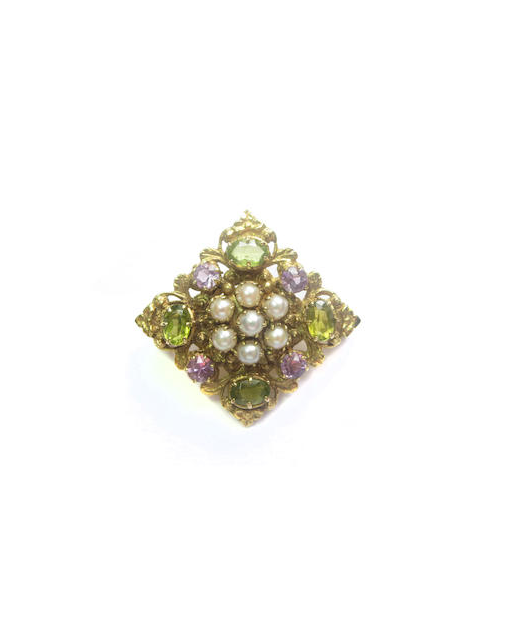 An early 20th century amethyst, peridot and cultured pearl brooch