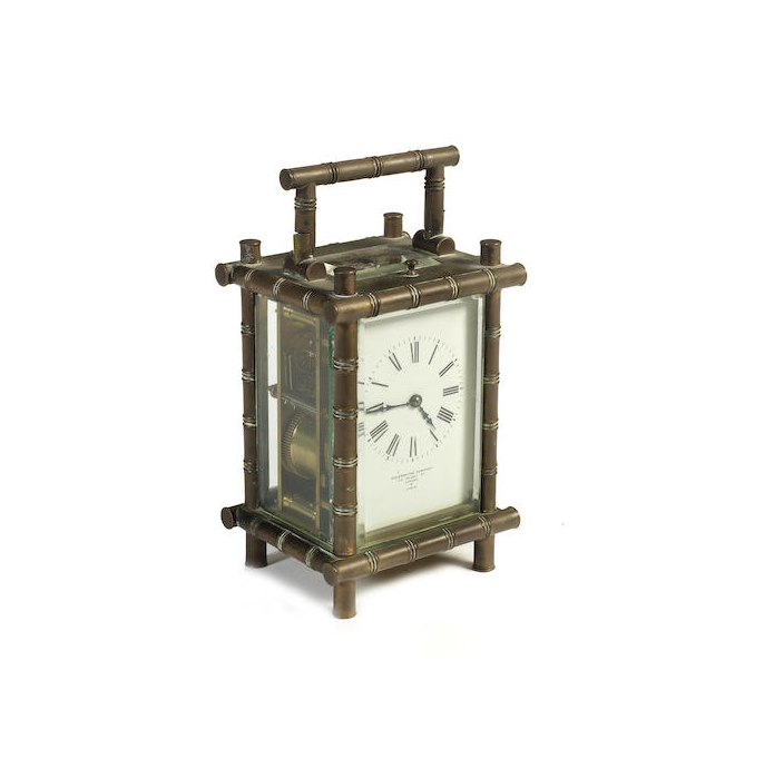A brass four glass repeating carriage clock