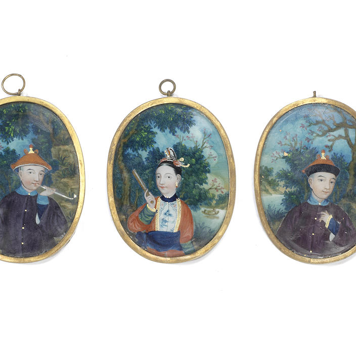 A set of three 19th century Chinese export portrait miniatures