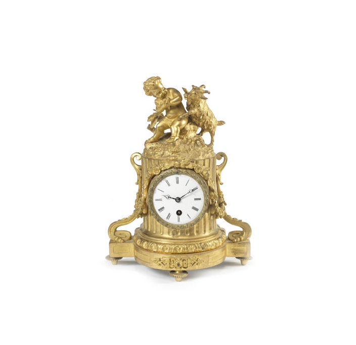 A French late 19th century gilt bronze figural timepiece