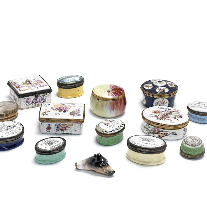 A collection of early 19th century and later English and continental enamel boxes