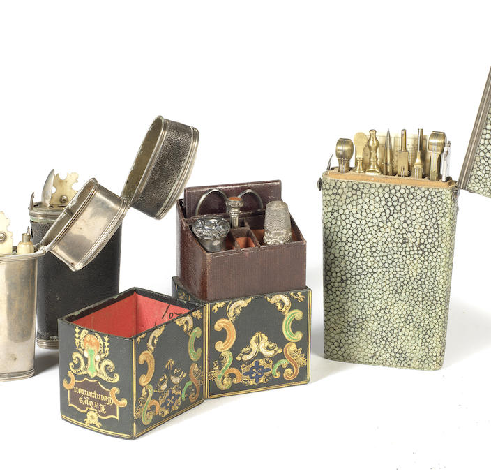 A silver and shagreen mounted gentleman's geometry set