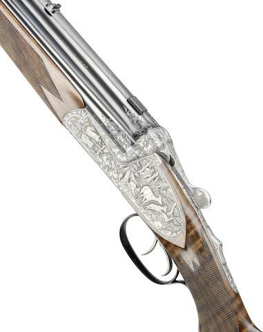 A fine 16-bore / 7x65(R)mm / 5.6x50(Rem. Mag.) / .22(H) Vierling combination gun / rifle by Joseph Hambrush, no. 3351