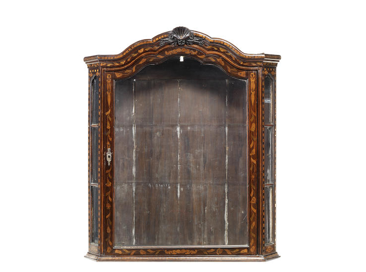 A Dutch late 18th century walnut and floral marquetry display cabinet