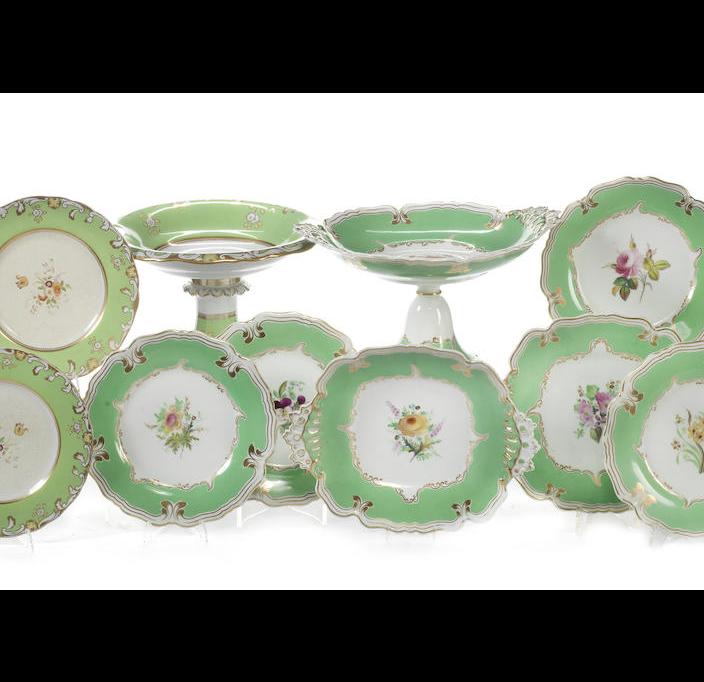 A quantity of porcelain dessert wares