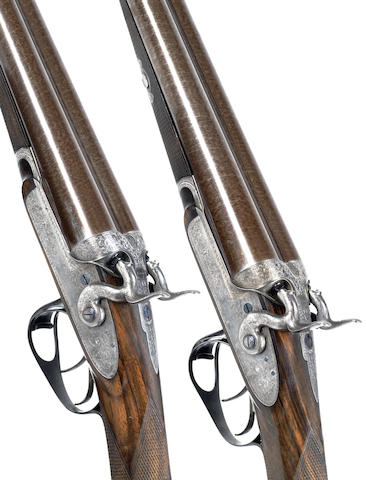 A fine and rare pair of 12-bore bar-in-wood sidelock hammer guns by J. Purdey, no. 7799/7800