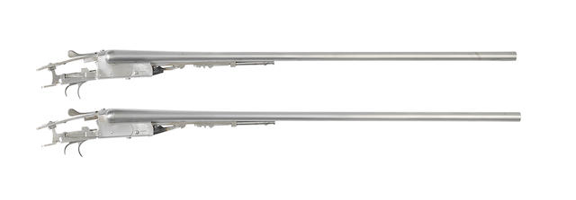A pair of 28-bore boxlock ejector guns, In-the-white