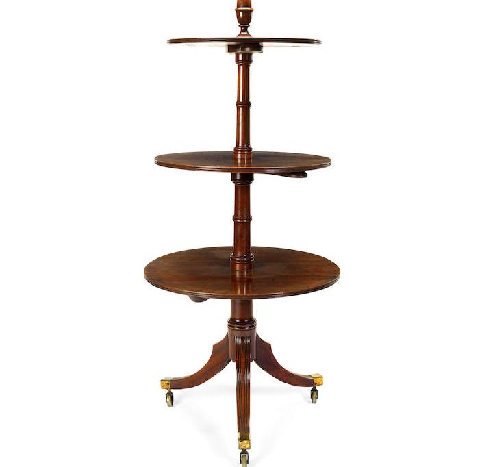 A George III mahogany three tier dumb waiter