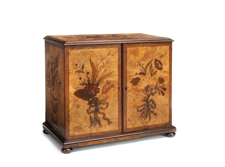 A Victorian satin birch, amboyna banded and floral marquetry table top collector's cabinet