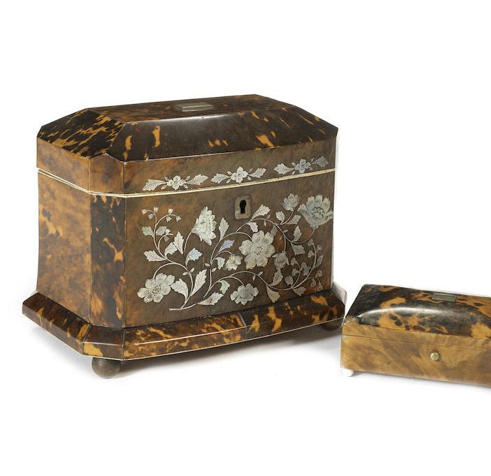 A Victorian tortoiseshell and mother of pearl inlaid tea caddy