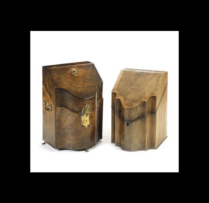 Two George III mahogany knife boxes