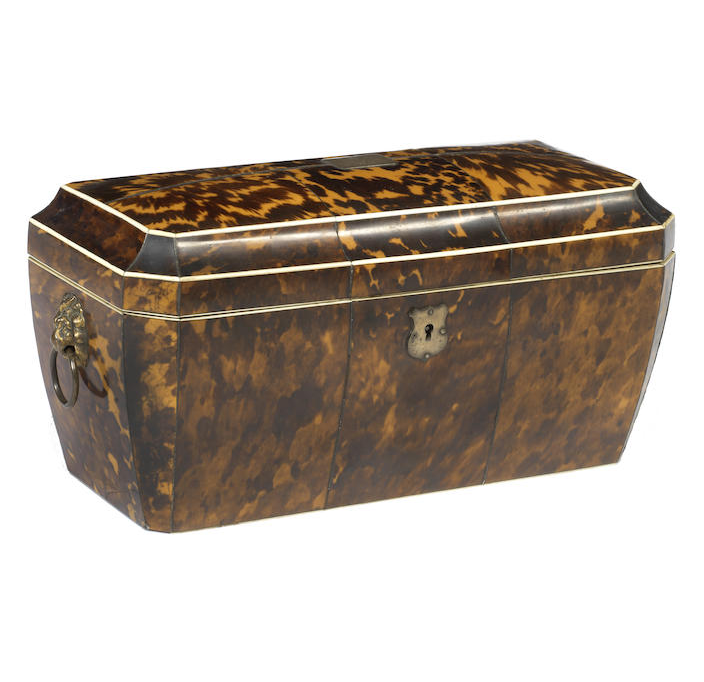 A 19th century tortoiseshell double tea caddy