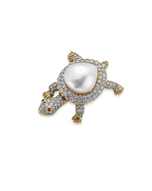 A cultured pearl and diamond turtle brooch