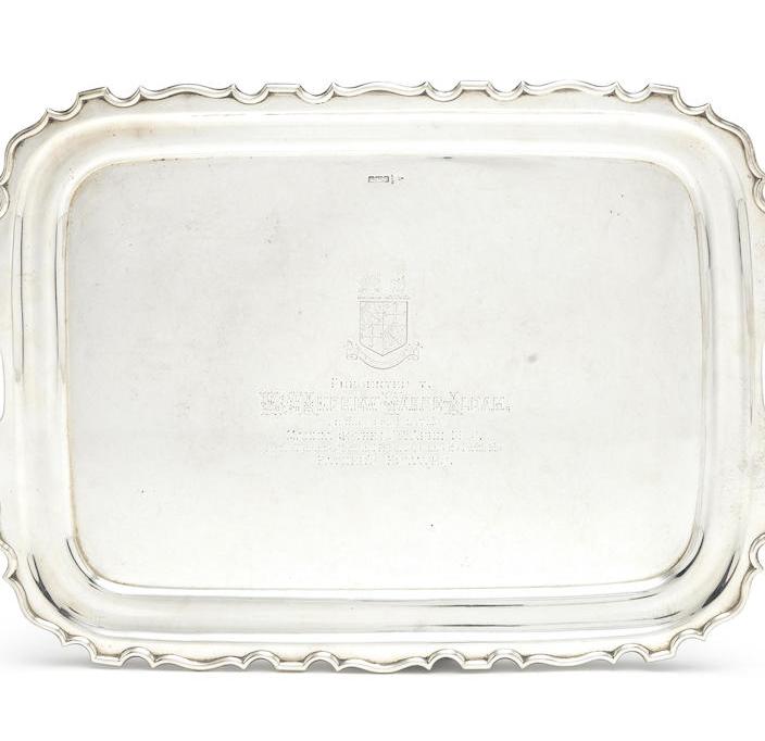 An Edwardian silver two-handled presentation tray