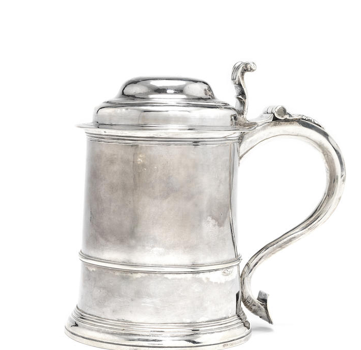 A George II silver lidded tankard
